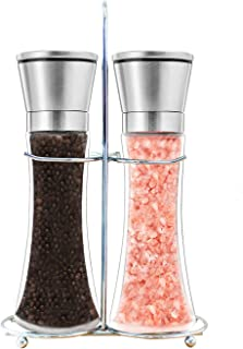 Premium Salt and Pepper Grinder Set of 2 - Salt and Pepper Shakers Mill, Stainless Steel Adjustable Coarseness Great Gift Set - Salt and Pepper Mill Shaker Mills Set with Bonus Stand Included