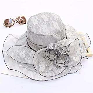 SHENTIANWEI Foldable Spring Xia Leisi Flower hat Korean Fashion Breathable mesh Shamao Outdoor Sun hat Large Brimmed Sun (Color : Grey, Size : Adjustable)