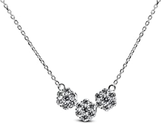 "ORO LEONI Womens 925 Sterling Silver Rhodium Plated Swarowski Zirconia Three Flower Pendant 18"" Necklace. Twenty One Round..."