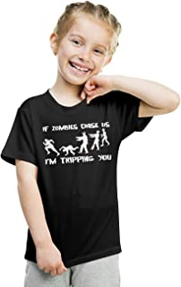 Crazy Dog T-Shirts Youth If Zombies Chase Us I'm Tripping You Funny Halloween Tshirt for Kids