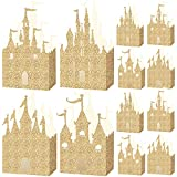 20 Pieces Gold Castle Box Princess Candy Box Glitter Princess Box Castle Favor Boxes Princess Party Decorations Baby Shower Supplies