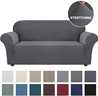 Turquoize Stretch Sofa Slipcover Couch Cover Sofa Covers for 3 Cushion Couch 1 Piece Sofa Slipcover for Living Room with Jacquard Fabric and Elastic Bottom Pet Furniture Protector (Large, Gray)