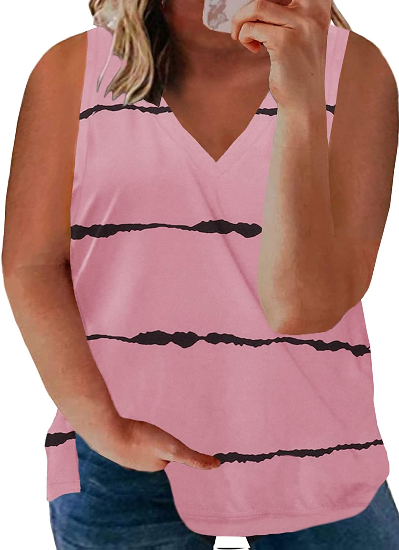 Acelitt Women's Plus Size Casual Tank Tops Sleeveless Blouses Shirts, XL-5XL