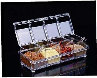 CULER 4pcs / Lot Cuisine Organisateur Boîtes De Rangement Épices Assaisonnement Pot Transparent Sucre Sel Bouteille Access...