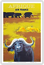 Pacifica Island Art Africa (Afrique) - Air France - African Wildlife - Vintage Airline Travel Poster by Paul Colin c.1956 - Master Art Print - 12in x 18in