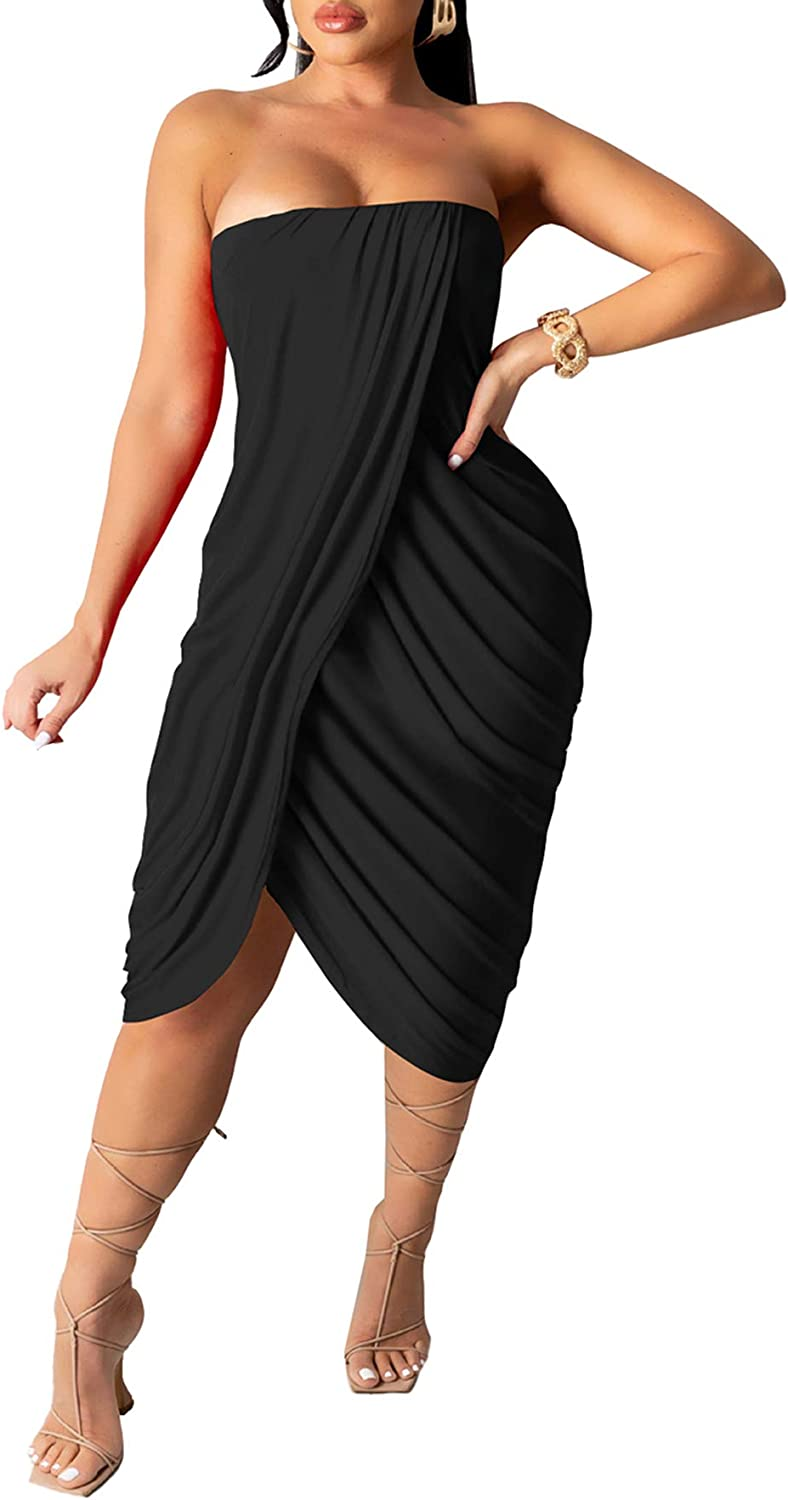 Womens Midi Tube Top Dress Sexy Sleeveless Strapless Tight Ruched Wrap T Shirt Party Club Dress