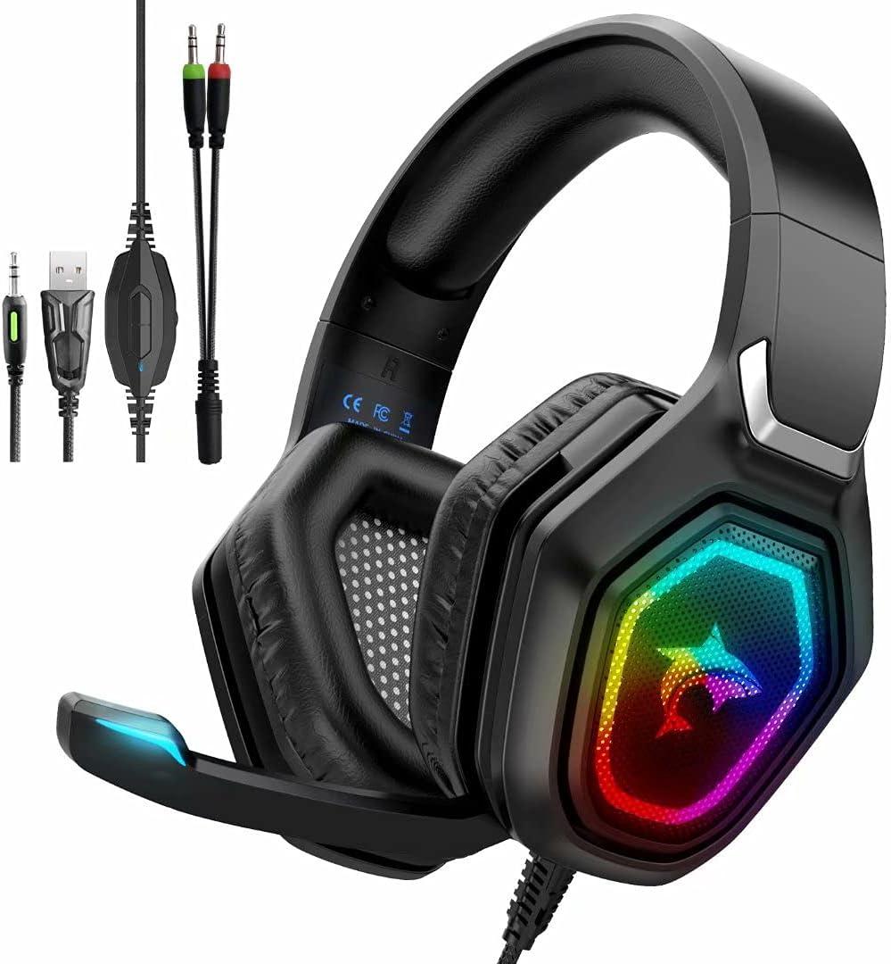 Auriculares para juegos con micrófono Wlevzzor PS5 con micrófono con cancelación de ruido colorido RGB LED, estéreo frío sobre la oreja para PS5 PS4, Xbox One, portátiles, PC, teléfonos