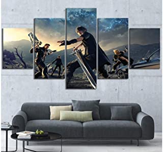 Junewind Canvas Painting Home Decor Poster Hd Pictures Prints Canvas 5 Piece Modular Final Fantasy Xv Game Living Room Decorative Cartoon Painting-SIZE3