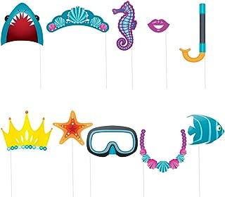 Unique Party- Paquete de 10 accesorios de cabina de fotos Fiesta Bajo el Mar, Multicolor, talla única (61938)