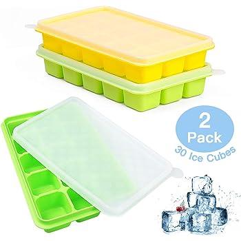 UTAKE Eiswürfelform Silikon, 2 Stück Eiswürfel Form Eiswürfelbehälter mit Deckel, Ice Cube Tray, BPA frei 15-Fach Eiswuerfel Eiswürfelform
