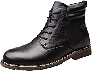 Sunny&Baby Combat Boots for Men Ankle Boot Lace up Style Genuine Leather Stitched Waxy Shoelaces Warmth Anti Slip Outdoor (Fleece Inside Option) Durable (Color : Black, Size : 8 UK)