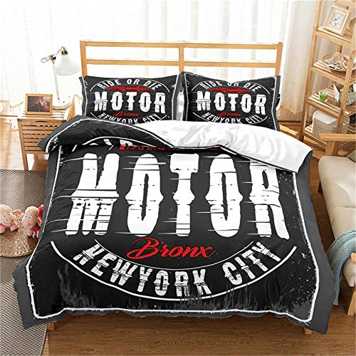 Double Duvet Cover Set Motocross Racer Grey City and Motorcycle 3D Print Quilt Cover Set with 2 Pillow Shames Lightweight Soft Microfiber Bedding Sets with Zipper Closure 3PCs-A_AU-Single140cm×210cm