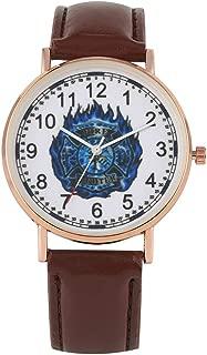 Premium Brown Leather Band with Pin Buckle Watch Elegant Quartz Analog Watches Unique Blue Fire Brigade Mark Dial Quartz Wristwatch