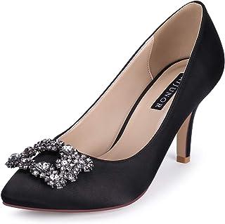 ERIJUNOR Women Pointed Toe Mid Heel Pumps with Rhinestone Brooch Satin Wedding Evening Party Shoes