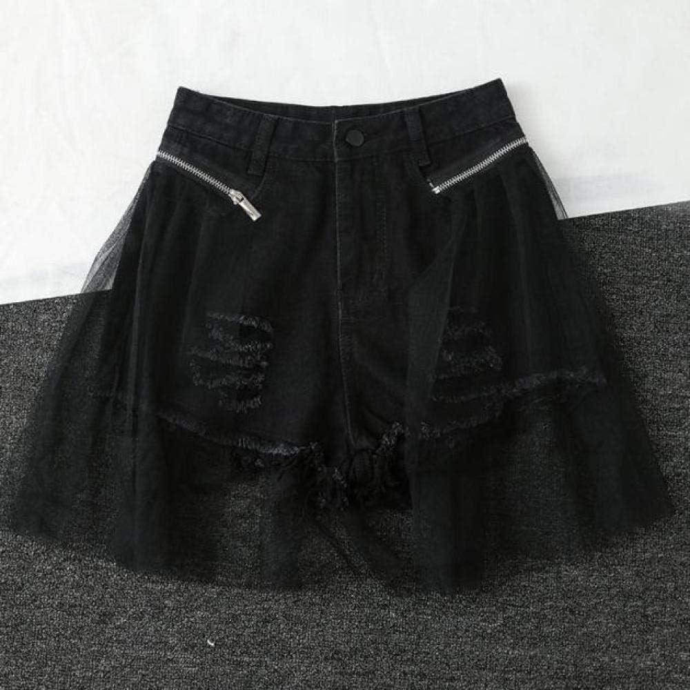 CDDKJDS Women S Summer Ripped Hole Denim Shorts Fashion Detachable Mesh High Waist Jeans Female Trendy Tassels Mini Cowboy Shorts (Color : Black, Size : S)