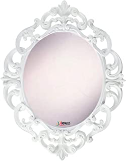 Andalus Small White Oval Vintage Wall Mirror, Ornate Frame, 11.5
