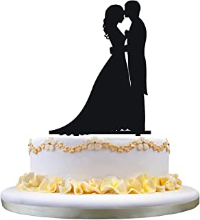 Wedding Cake Topper - Bride and Groom Cake Topper, Silhouette of Groom Kissing Bride, Perfect for Wedding Engagement Anniversary Party Decor