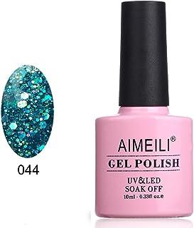 AIMEILI Soak Off UV LED Gel Nail Polish - Diamond Glitter Teal Blue Green (044) 10ml