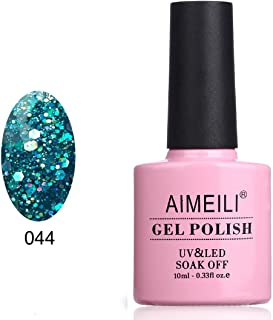 AIMEILI Soak Off UV LED Gel Nail Polish - Diamond Glitter Teal Blue Green (044) 10ml