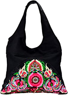 Onlineb2c Chinese Vintage Embroidered Casual Canvas Travel School Shoulder Bag