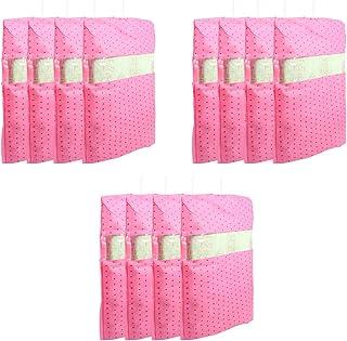 PrettyKrafts dots Printed Hanging Saree Cover Wardrobe Organiser (Set of 12 Pieces) - Pink