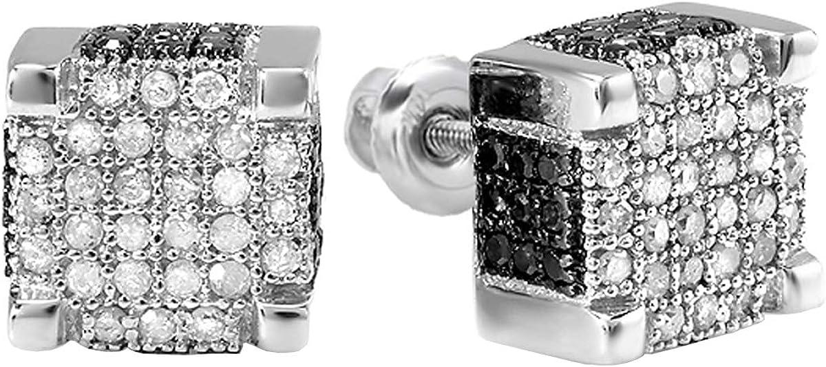 Dazzlingrock Collection 0.97 Carat (ctw) Round Black & White Diamond Mens Micro Pave Ice Cube Hip Hop Stud Earrings 1 CT