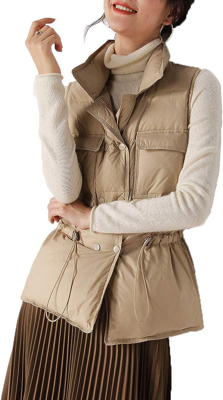 Women Quilted Down Coat Lightweight Jacket Gilet Padded Waistcoat Outwear Vest