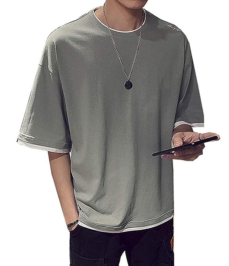 教える前方へマーケティングAlupper Tシャツ ゆったりシャツ メンズ夏服 丸襟 半袖 カジュアル 快適 吸汗速乾 無地 柔らかい おしゃれ
