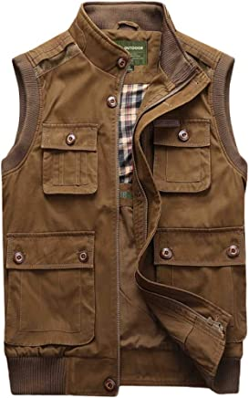 Vest Trend Spring And Summer Men's Thin Loose Stand Collar Jacket Casual Outdoor Large Size Three colors XMJ (color   KHAKI, Size   XL)