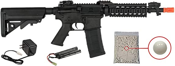 Wearable4U Tippmann Basic Training Full Size M4 Airsoft AEG with RIS Handguard with Included 9.6V NimH Battery and Charger Pack of 1000 6mm 0.20g BBS Bundle (Black)