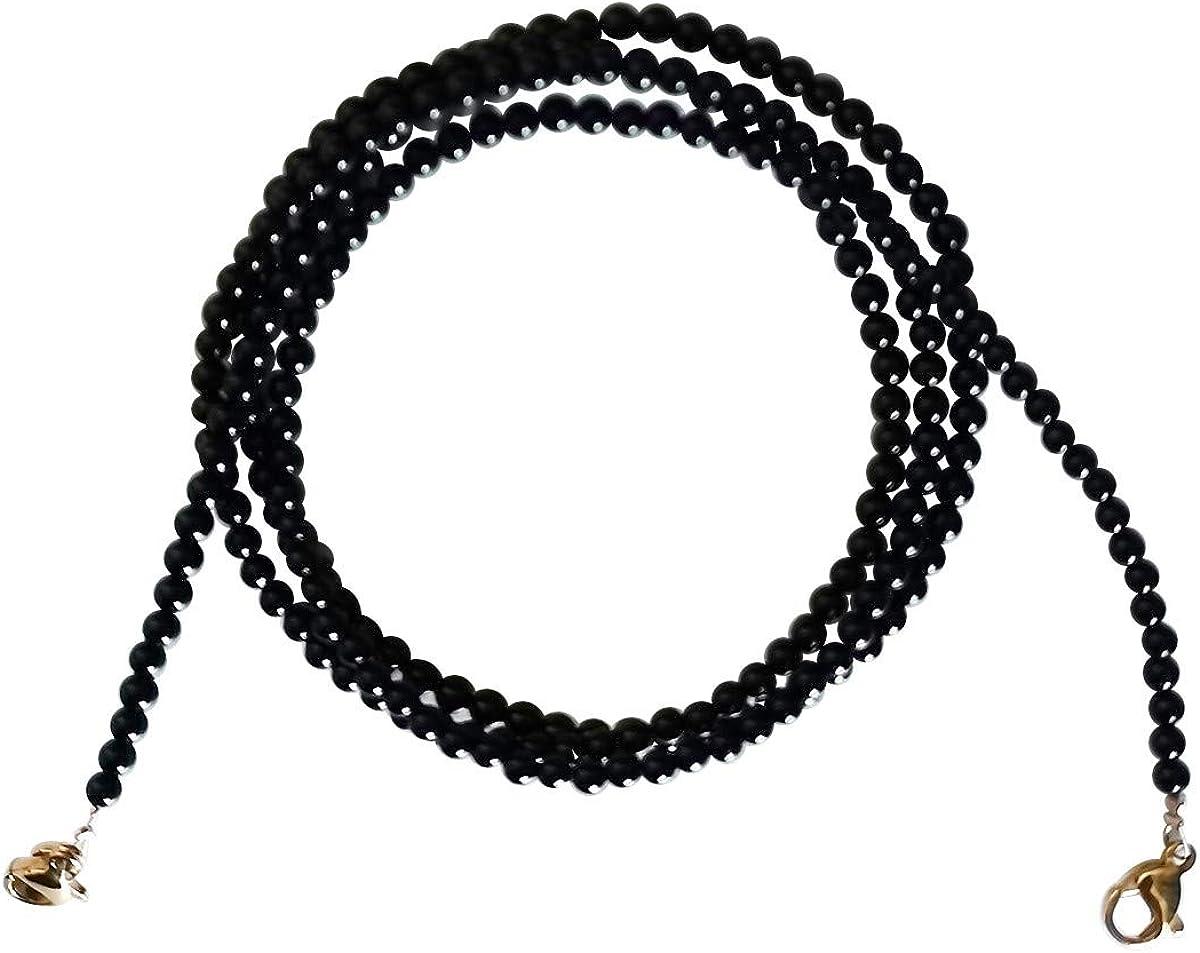 Qordelia Genuine 3mm Black Onyx Beads Gemstone Round Beads Glasses Chain Lanyard Necklace Bracelet Strap Eyeglass Chains