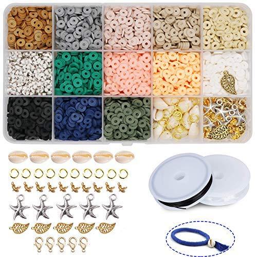 Cuentas planas hechas a mano de arcilla polimérica de 6 mm, 2600 unidades hechas a mano cuentas espaciadoras sueltas para pulsera, pendientes, collares, joyería