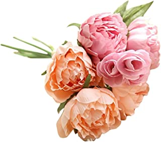 Farantasy造花ファッション美しい現実的な人工フェイクの花牡丹花束花の結婚式のブーケパーティーホーム装飾家の結婚式の装飾の人工花。