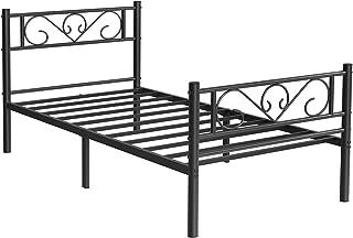 VASAGLE Lit Simple, Cadre de lit en métal, pour Matelas de 90 x 190 cm, pour Adultes, Enfants, Pas Besoin de sommier, Asse...