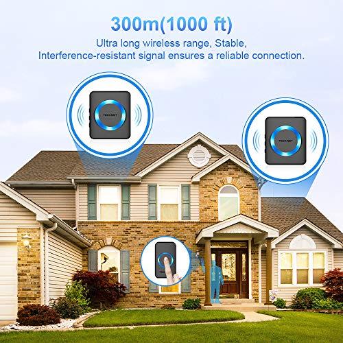 TECKNET Funk Türklingel, Kabellose Türklingel, Wireless Türglocken, 300m Reichweite, 52 Klingeltöne, Plug In für Die Steckdose, Klingel und Klingelknopf Mit LED Anzeige