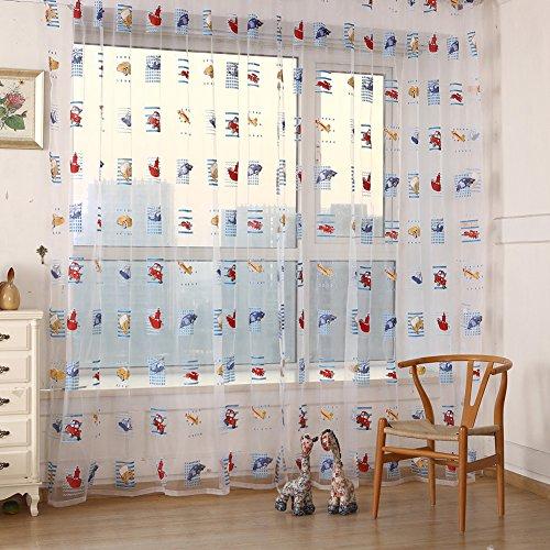 Amazingdeal365 Cartoon Auto Kinderzimmer Vorhänge 200 x 100 cm Set Baby Gardinen für Kinderzimmer Balkon Spielzimmer