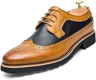 CAIFENG Moda para Hombre Oxford Casual Vintage Clásico Tallado Tallado Encaje Arriba Top Top Brogue Shoes (Color : Yellow ...