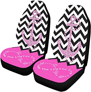 InterestPrint Chevron with Anchor Quotes Car Seat Covers Set of 2 Vehicle Seat Protector Car Covers for Auto Cars Sedan SUV