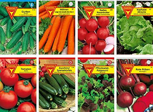 Frankonia-Samen / Gemüsesamen-Sortiment / Grundausstattung / 9 Gemüsesorten / Einlegegurken / Möhren / Radies / Kopfsalat / Tomate / Zucchini / Pflücksalat / Rote Rüben