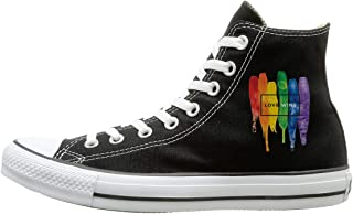 FOOOKL Watercolor LGBT Love Wins Rainbow Canvas Shoes High Top Design Black Sneakers Unisex Style