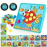TINOTEEN Mosaik Steckspiel für Kinder Lernspielzeug Steckmosaik mit 50 Steckperlen und 18 Bunten...