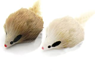 Kats'N Us Real Rabbit Fur Long Hair Mouse Cat Toy - 2pk Carmel Color