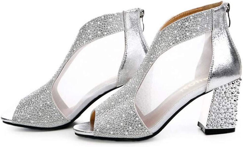 Btrada Women's Fish Mouth Toe Mesh Rhinestones Zipper Sandals Female Summer Fashion Party High Heel Sandals
