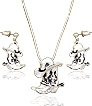 RechicGu Western Texas Cowgirl Cowboy Hat Stetson Boot Spur Rodeo Snake Chain Earrings Necklace Set