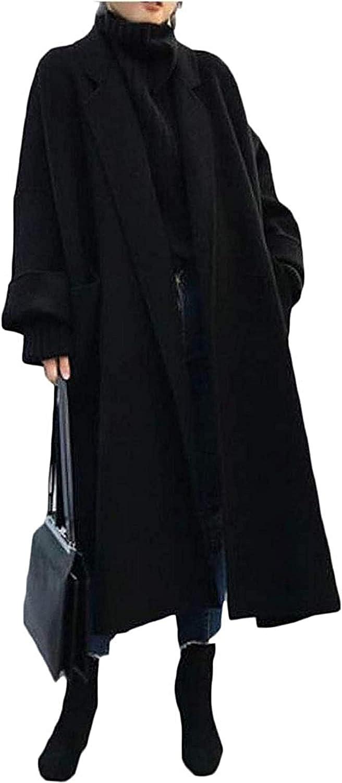 Hoolep Women's Plus Size Woollen Blend Loose Winter Long Trench Pea Coat Jacket Overcoat