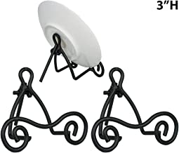BANBERRY DESIGNS Black Metal Easels - Set of 3 - Wrought Iron - Display Plate Stand - Swirling Spiral Scroll - 4 Inch High