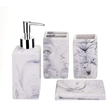 Bathroom Accessories Set 5 Piece Marble Complete Bathroom Set For Bath Decor Includes Toothbrush Holder Soap Dispenser Soap Dish 2 Tumblers Ink White Home Kitchen