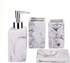 iMucci Faux Marble 4PCS Bathroom Accessories Set - Toothbrush Holder and Soap Dispenser Soap and Lotion Set Tumbler Cup