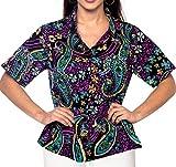 LA LEELA Camicia di Vestito Spiaggia Hawaiana Maniche Corte della Camicetta Coprire Pulsan...