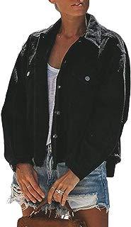 Asvivid Womens Basic Distressed Wash Denim Jacket Frayed Hem Stretch Jean Trucker Coat